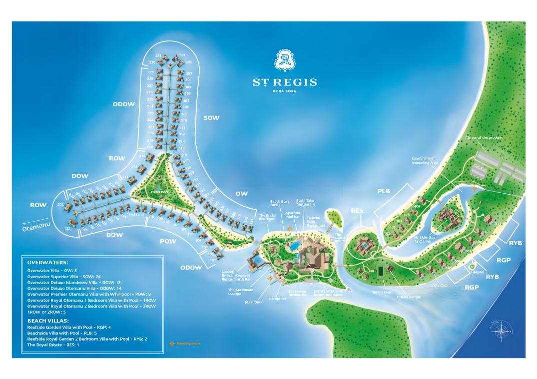 Mapa do St Regis Bora Bora Resort