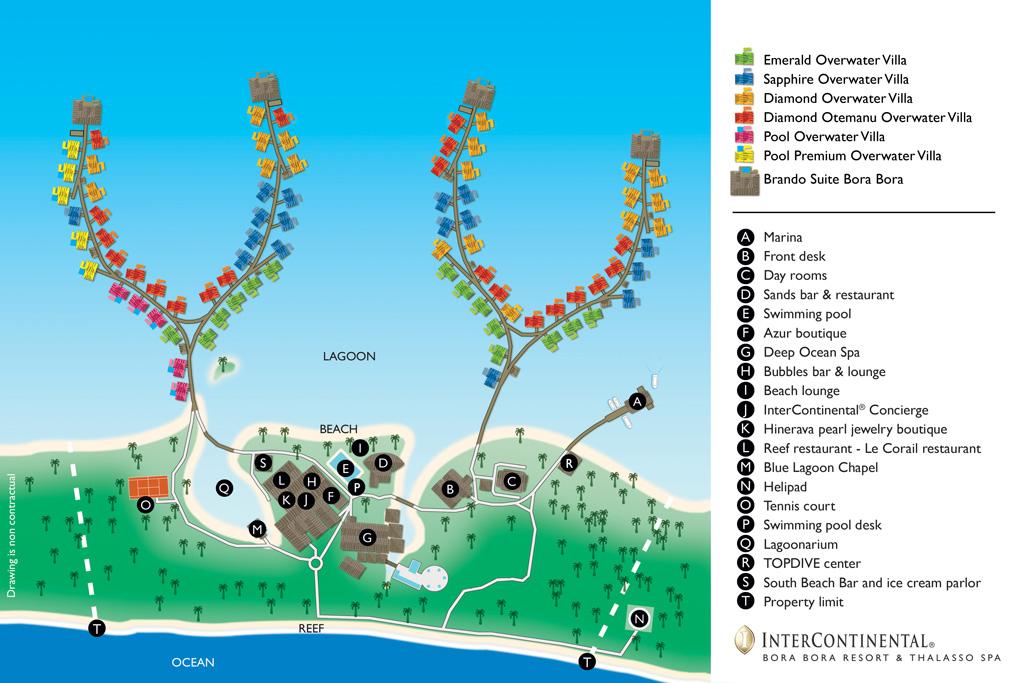 Intercontinental Bora Bora Thalasso Resort Map 2017 - Lua de Mel Bora Bora - Viagem Polinesia Francesa - Hotel 5 estrelas Bora Bora